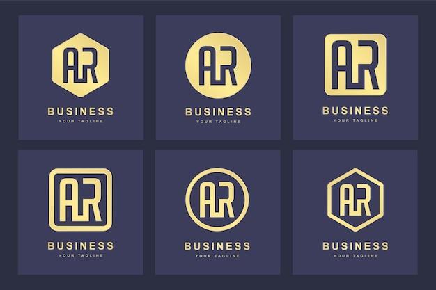 Una colección de iniciales del logotipo de la letra ar ar dorado con varias versiones