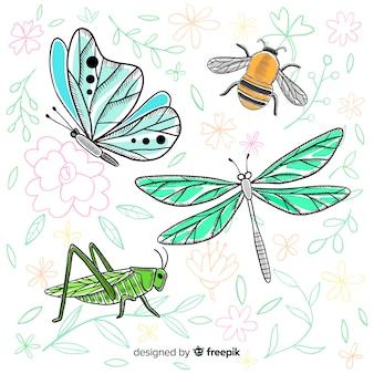 Colección de insectos dibujado a mano realista