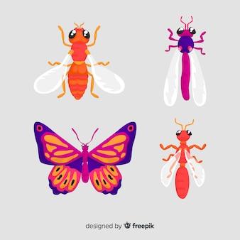 Colección de insectos dibujados a mano