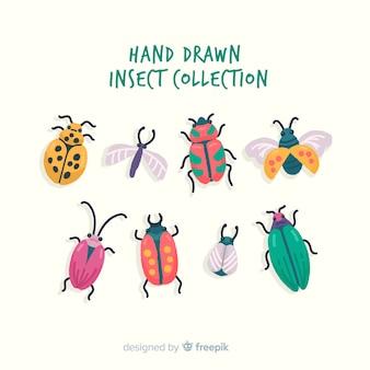Colección insectos dibujados a mano