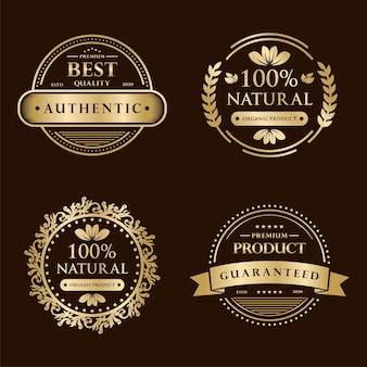 Colección insignia de certificación de garantía de satisfacción del 100% en oro