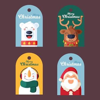 Colección de insignia navideña en diseño plano