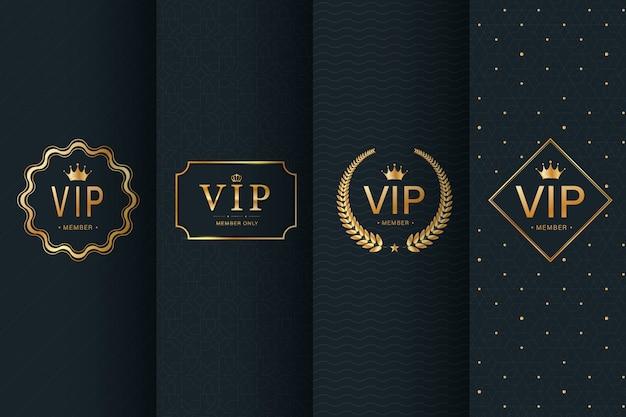Colección de insignia vip en patrones sin fisuras