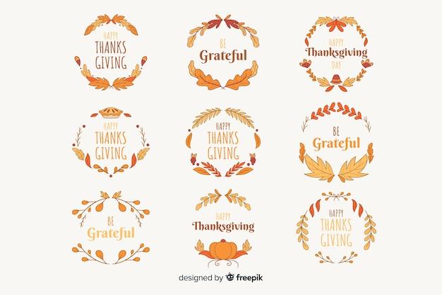 Colección de insignias de acción de gracias dibujadas a mano