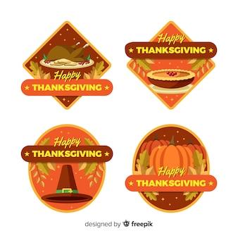 Colección de insignias de acción de gracias en diseño plano