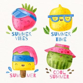 Colección de insignias de acuarela de verano