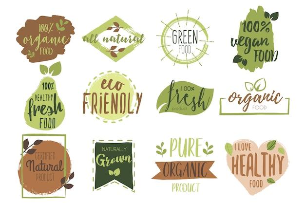 Colección de insignias de alimentos orgánicos