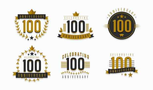 Colección de insignias de aniversario de cien años.