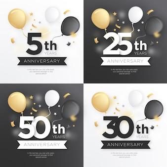 Colección de insignias de aniversario con globos dorados