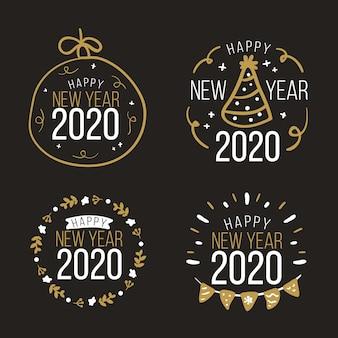 Colección de insignias de año nuevo 2020 dibujadas a mano