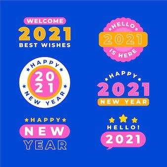 Colección de insignias de año nuevo 2021 en diseño plano
