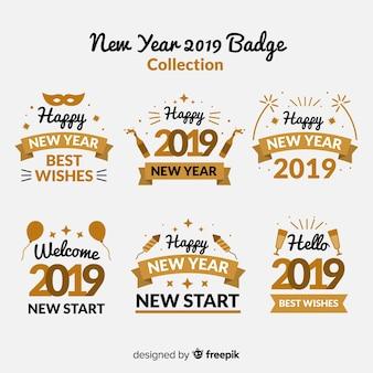 Colección de insignias de año nuevo con estilo dorado