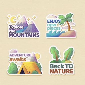 Colección de insignias de aventuras en acuarela