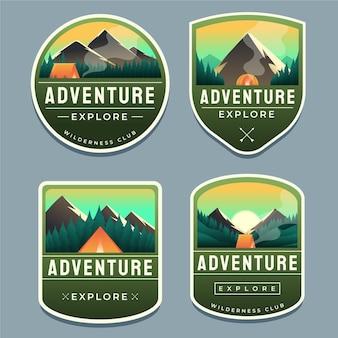 Colección de insignias de aventuras en gradiente