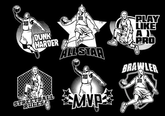 Colección de insignias de baloncesto en blanco y negro