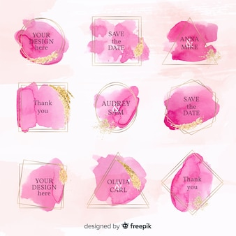 Colección de insignias de boda de acuarela