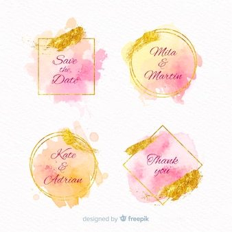 Colección de insignias de boda con manchas de acuarela