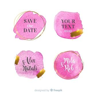 Colección de insignias de boda de manchas de acuarela