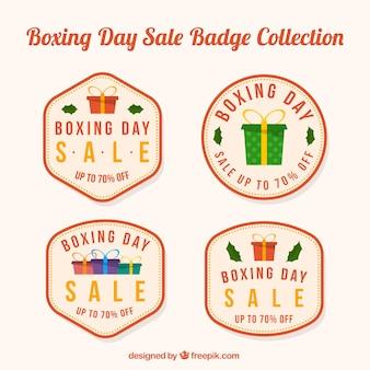Colección de insignias del boxing day en beige