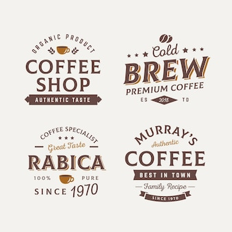 Colección de insignias de café vintage