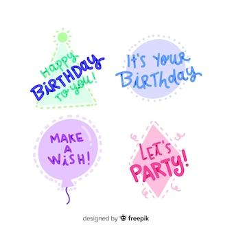 Colección de insignias caligráficas de cumpleaños