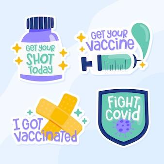 Colección de insignias de campaña de vacunación dibujadas a mano