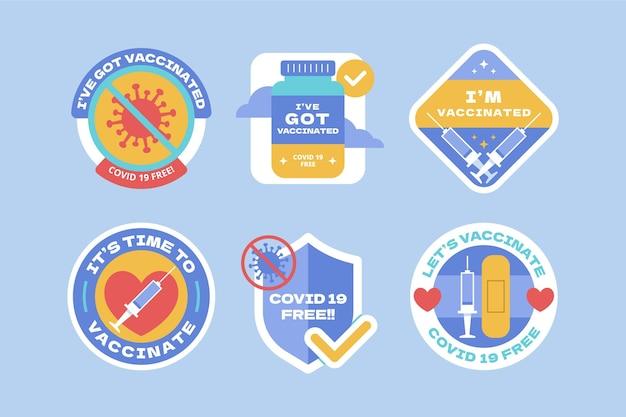 Colección de insignias de campaña de vacunación orgánica plana