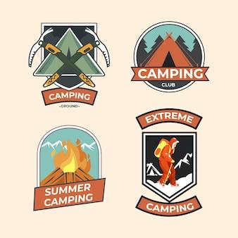 Colección de insignias de camping vintage