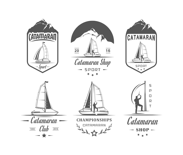 Colección de insignias de catamarán