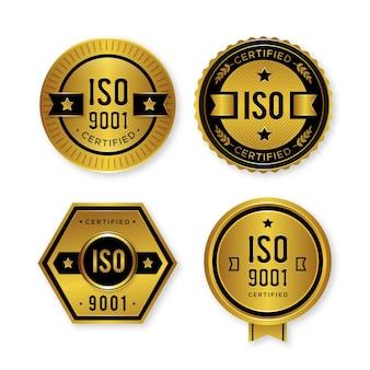 Colección de insignias de certificación iso