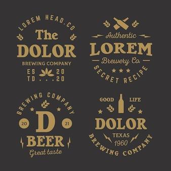 Colección de insignias de cervecería dorada.