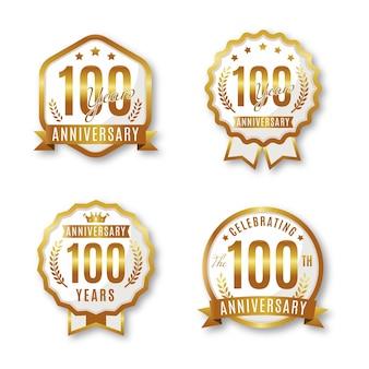 Colección de insignias de un cien aniversario