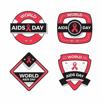 Colección de insignias de cintas del día mundial del sida.