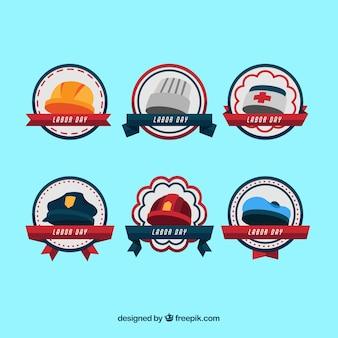 Colección de insignias clásicas del día del trabajo en america con diseño plano