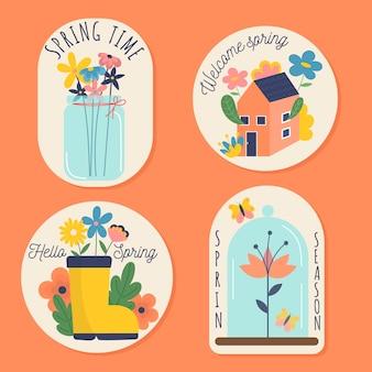 Colección de insignias coloridas de primavera