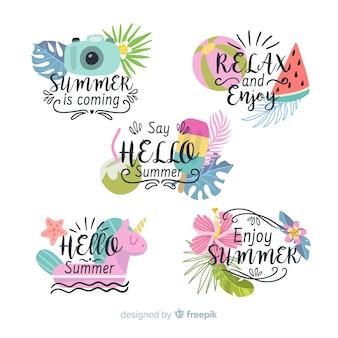 Colección de insignias coloridas de rebajas de verano