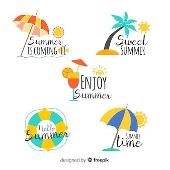 Colección de insignias coloridas de verano dibujadas a mano