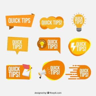 Colección de insignias de consejos en estilo plano