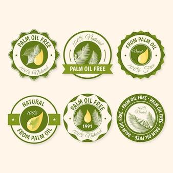 Colección de insignias creativas de aceite de palma.