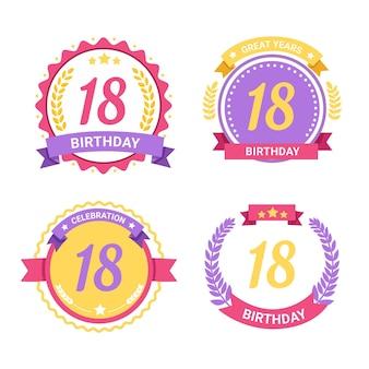 Colección de insignias de cumpleaños número 18