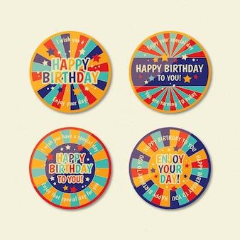 Colección de insignias de cumpleaños planas
