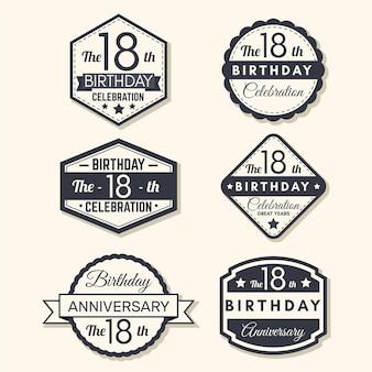 Colección de insignias de decimoctavo cumpleaños