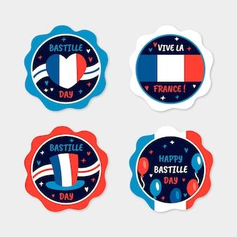 Colección de insignias del día de la bastilla dibujadas a mano