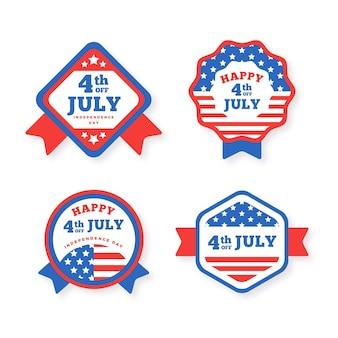 Colección de insignias del día de la independencia de ee. uu. de diseño plano