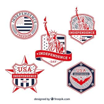 Colección de insignias del día de la independencia de ee.uu.