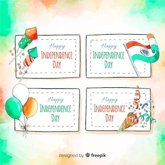 Colección de insignias del día de la independencia de india en acuarela