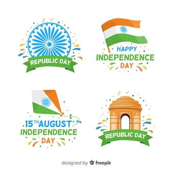 Colección de insignias del día de la independencia de india dibujado a mano