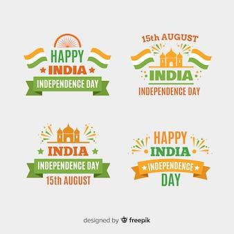 Colección de insignias del día de la independencia de india en diseño plano