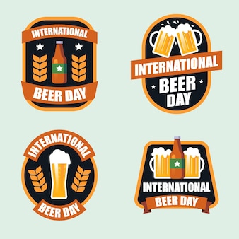 Colección de insignias del día internacional de la cerveza de diseño plano
