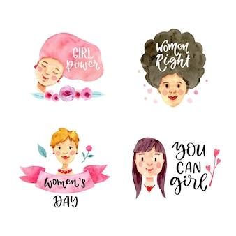 Colección de insignias del día internacional de la mujer en acuarela
